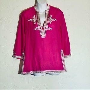 Trina Turk Pink and White Tunic